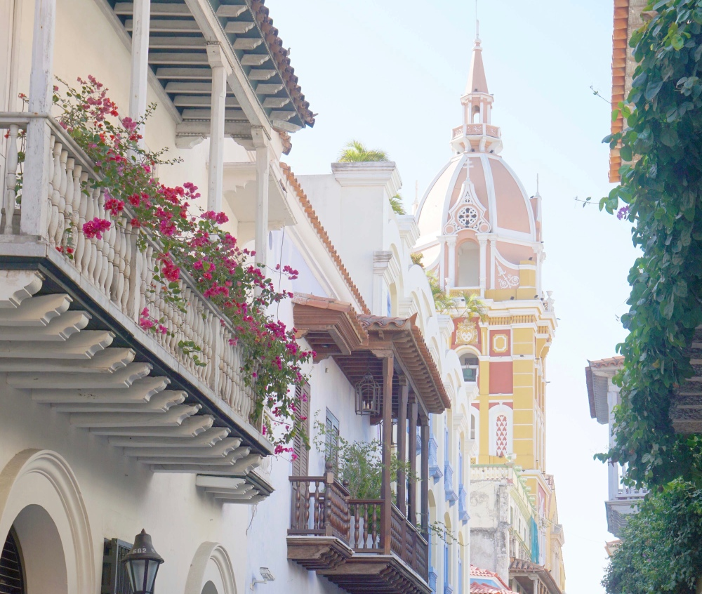 Cartagena Cathedral with Floral Balconies